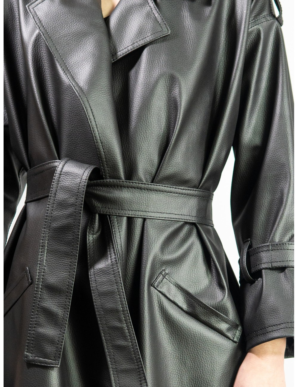 Crafted eco leather coat...