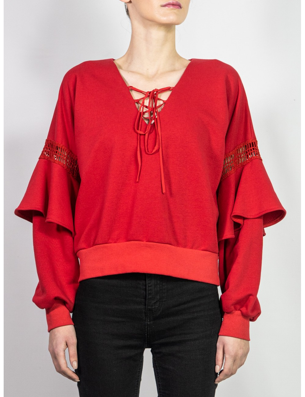 Crafted red blouse Alina...