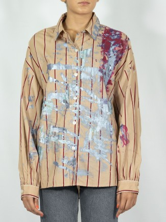 Brown painted shirt x Mira
