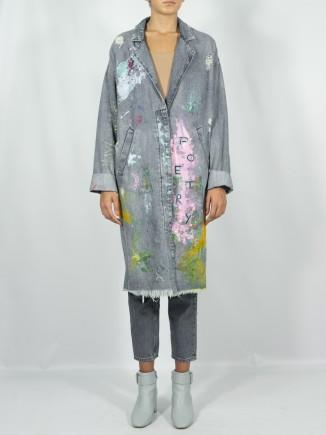 Upcycled long denim coat x...