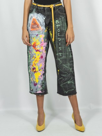 Upcycled painted jeans x Mira
