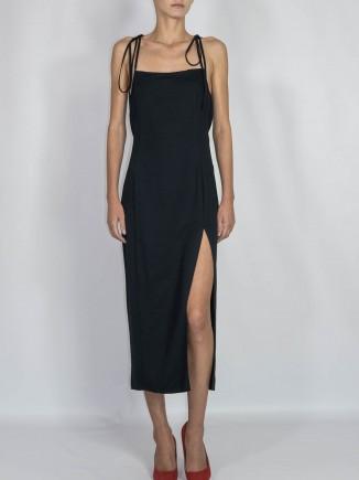 Sustainable recycled fabrics black dress Gnana