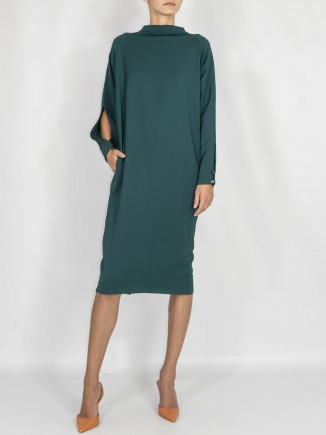 Green crafted dress  Maam with love