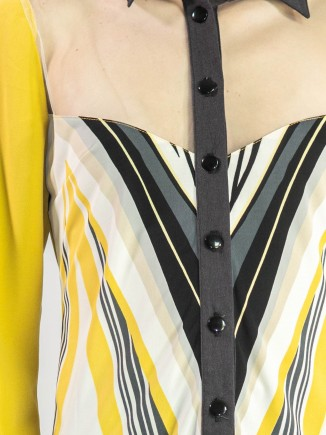 Crafted shirt with yellow sleeves Olga Mihoc